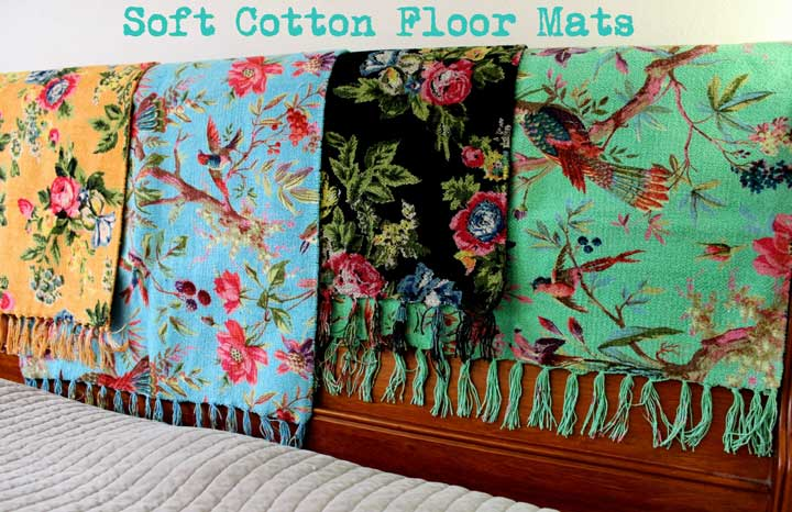 Cotton chenille printed floor mat colourful floral bird for Home decorators chenille rug