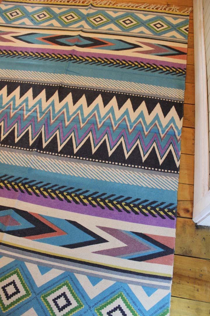 Mexican Aztec Floor Rug Large Blue Beach Style Tulum