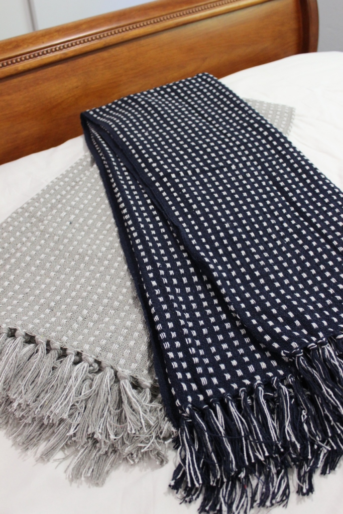 Cotton Waffle Throw White Dot Weave Navy Blue Sofa Bed