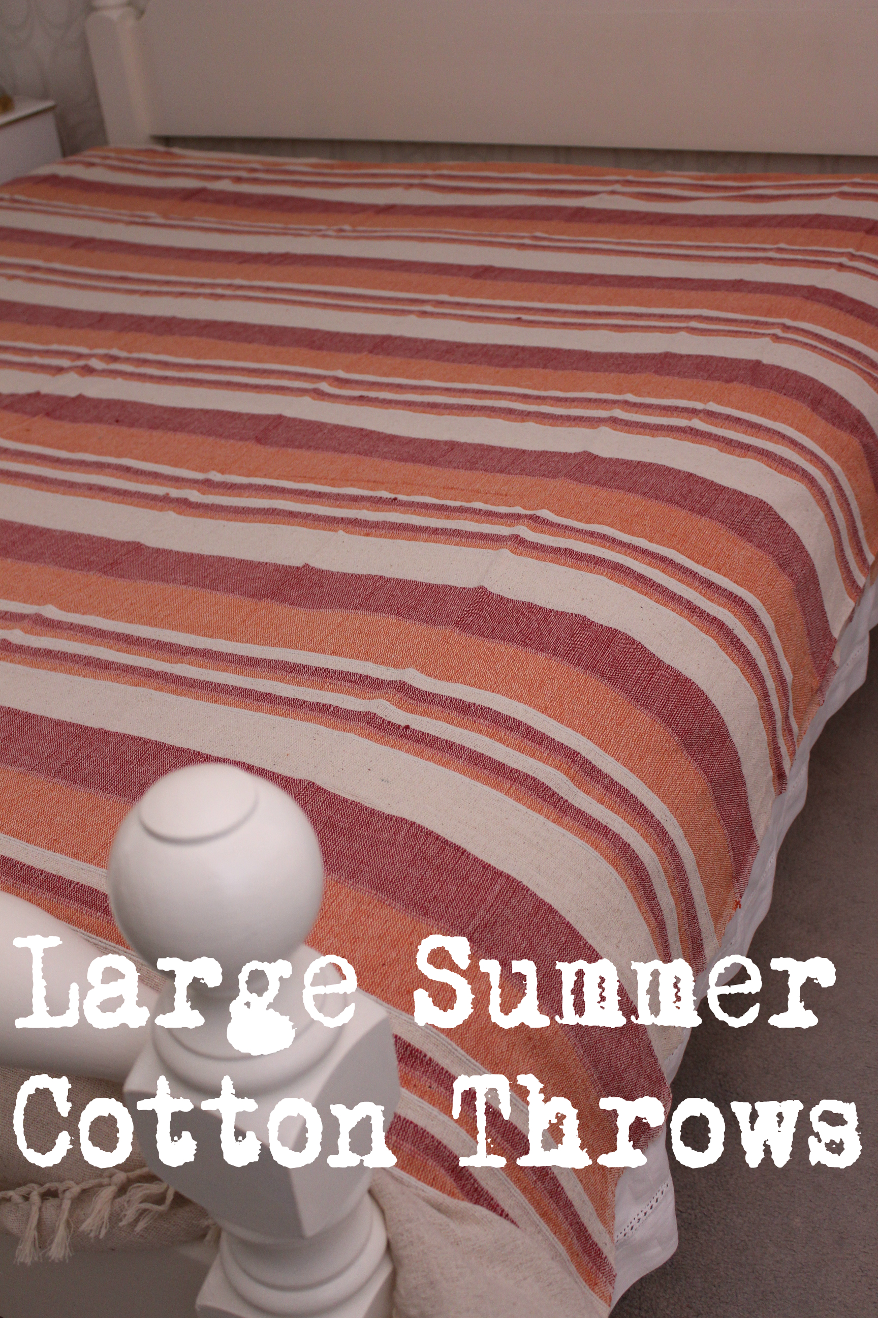 Cotton King Throw Bed Cover Orange Blue Aqua Pink Beige