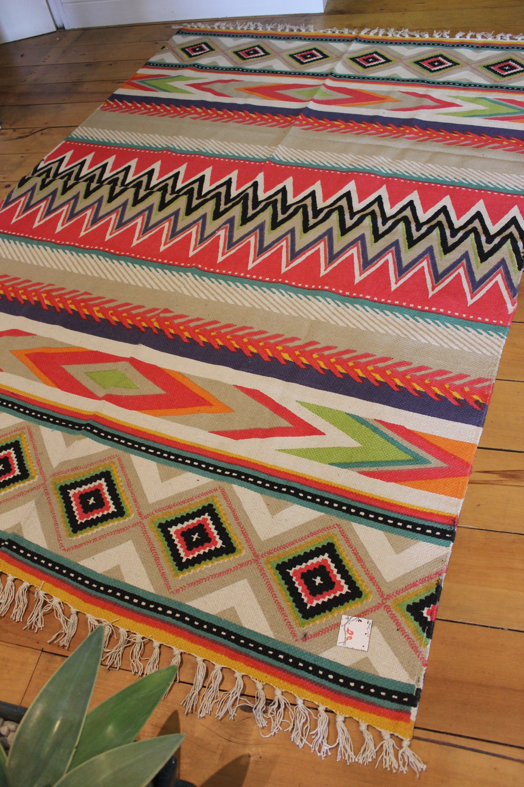 Mexican Aztec Floor Rug Large Style Cotton Rug Tassel
