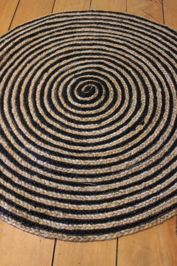 Round Floor Mat Black Amp Cream Rug Natural Jute Woven