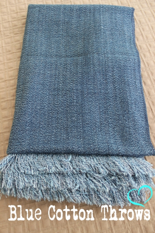Blue Cotton Throw Denim Throw Bed Or Sofa Rug Soft Throw