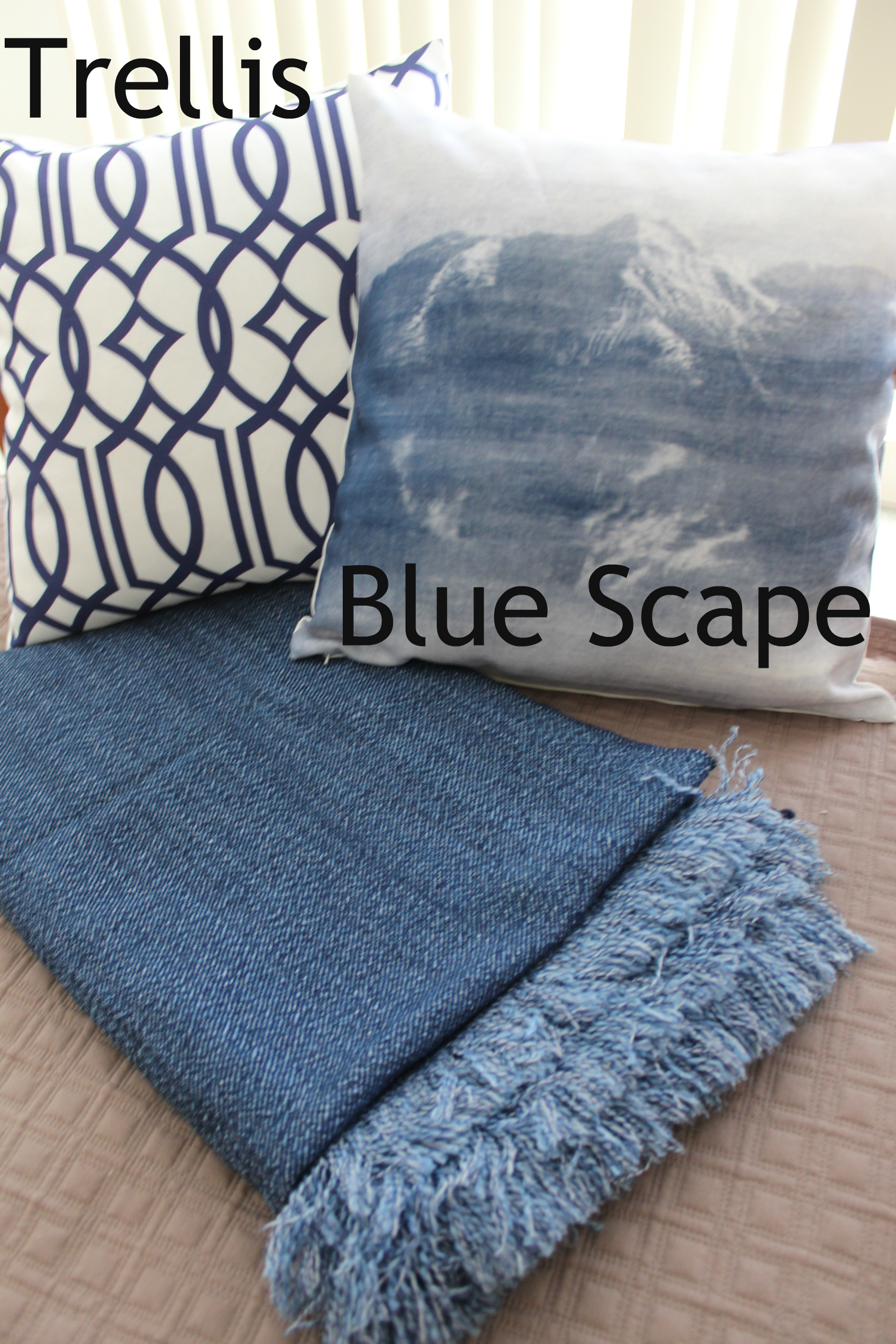 Blue Cotton Throw Denim Throw Bed or Sofa Rug Soft Throw Blanket